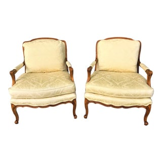 Late 20th Century Classic French Bergere Chairs - a Pair For Sale