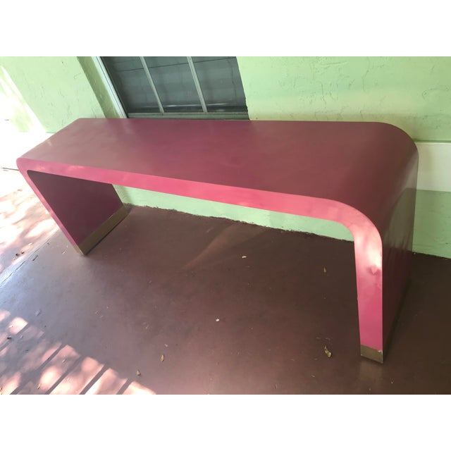 Art Deco 1970s Art Deco Style Pink Waterfall Console For Sale - Image 3 of 8