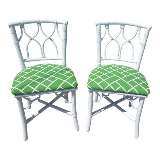 Vintage Ficks Reed Rattan Upholstered Faux Bamboo Side Chairs - a Pair