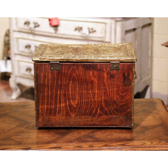 Brass 19th Century French Repousse Brass and Wood Box With Sailboat Decor For Sale - Image 8 of 10