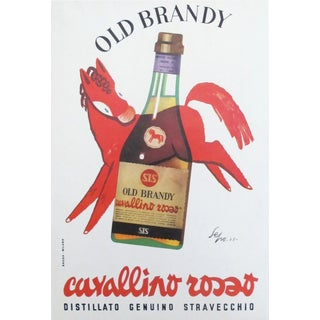 1953 Italian Old Brandy Poster, Cavallino Rosso by Sepo For Sale