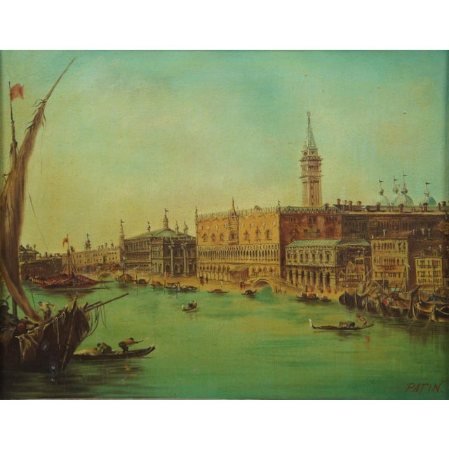 Mid 20th Century Vintage 20th Century Venice Italy Patin Impressionist Cityscape Oil Painting For Sale - Image 5 of 12