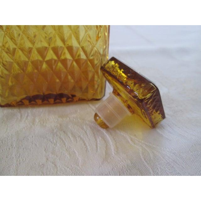 Vintage Amber Glass Diamond Cut Decanter - Image 4 of 4