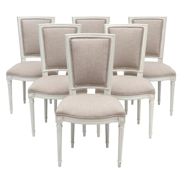 Louis XVI Style Painted Dining Chairs - Set of 6 For Sale - Image 10 of 10