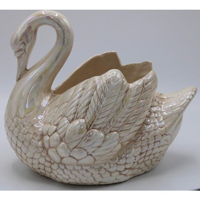 Ceramic Cream Lusterware Swan Cachepot Planter For Sale - Image 7 of 13