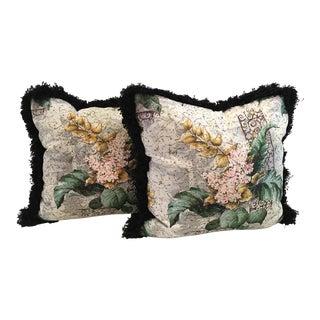 Vintage Custom Made Barkcloth Down Pillows - a Pair For Sale
