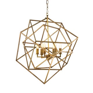 Matrix Gold Cubist Chandelier For Sale