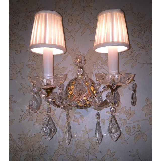 French Crystal Sconces - Pair - Image 2 of 6