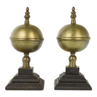 Vintage Brass Orbs Globe Lidded Boxes on Stands - a Pair