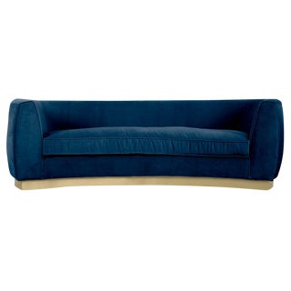 St. Germain Sofa in Indigo Blue Velvet For Sale