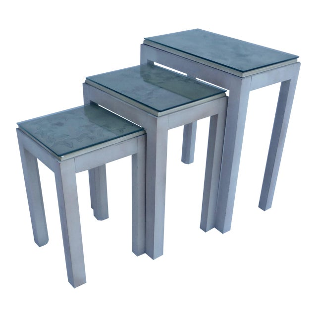 Floral Tile Topped Nesting Tables - Set of 3 For Sale