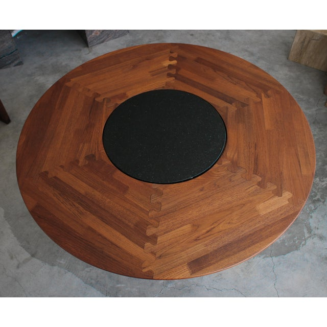 Mid-Century Modern Mid Century Round 3 Legged Danish Solid Teak Dining Table For Sale - Image 3 of 7