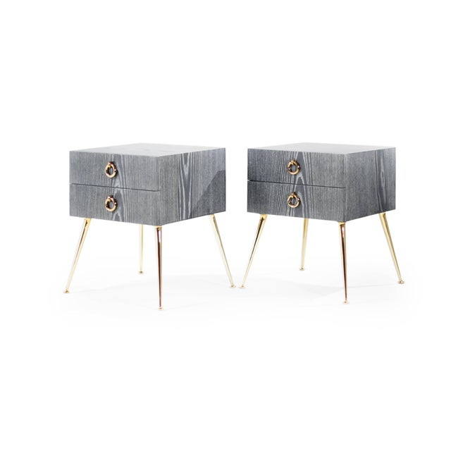 Gibby Collection End Tables in Limed Oak For Sale In New York - Image 6 of 11