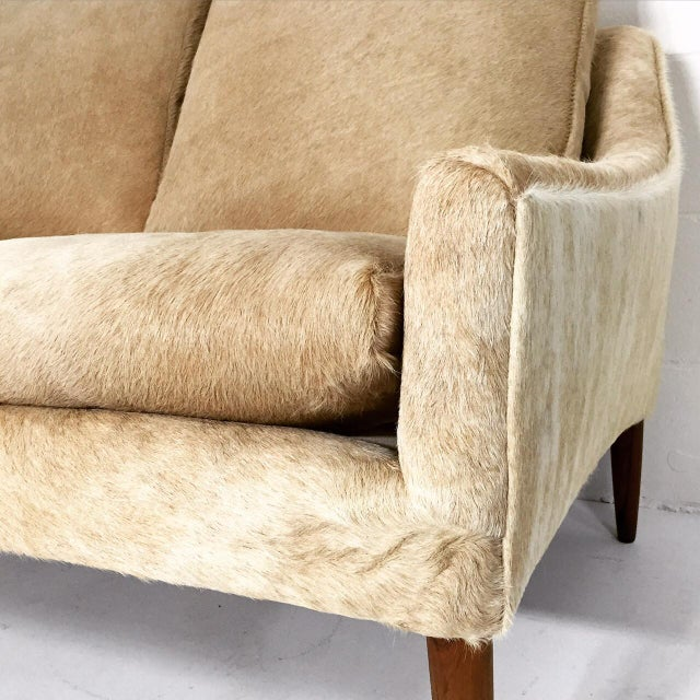 Forsyth One of a Kind Danish Loveseat in Brazilian Cowhide For Sale - Image 4 of 7