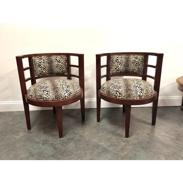 Brown Hollywood Glam Leopard Print Barrel Back Chairs - a Pair For Sale - Image 8 of 8