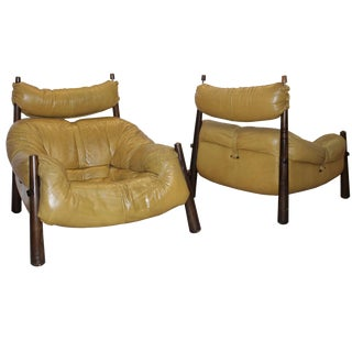 Percival Lafer Leather Armchairs - A Pair