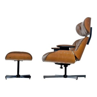 Mid-Century Modern Eames Style Lounge Chair and Ottoman For Sale