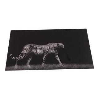 Cheetah on Black Glass Art