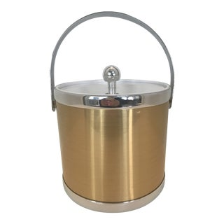 Vintage 1970s Georges Briard Gold With Silver Trim Ice Bucket For Sale