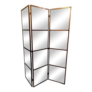 3-Panel Mirrored Burnished Metal Floor Screen For Sale