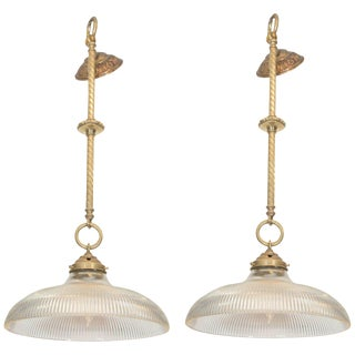 Early 20th Century Brass Rope Pendants With Holophane Glass Shades - a Pair For Sale