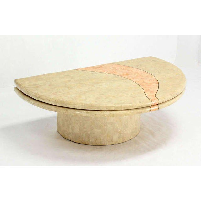 Revolving Expandable Tessellated-Top Round Coffee Table For Sale In New York - Image 6 of 10