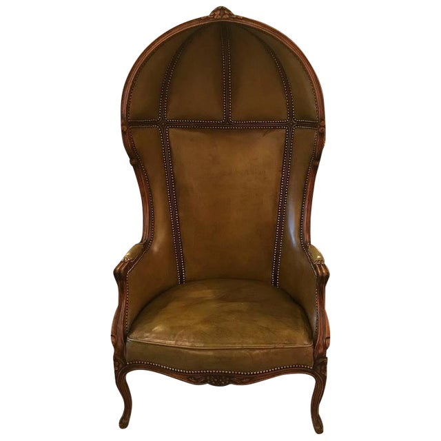 Louis XV Style Carved Beechwood & Leather Porter Chair For Sale