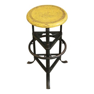1930s Vintage Yellow Industrial Factory Stool For Sale