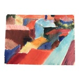 Image of Vintage Original Abstract Rooftop Watercolor Painting For Sale