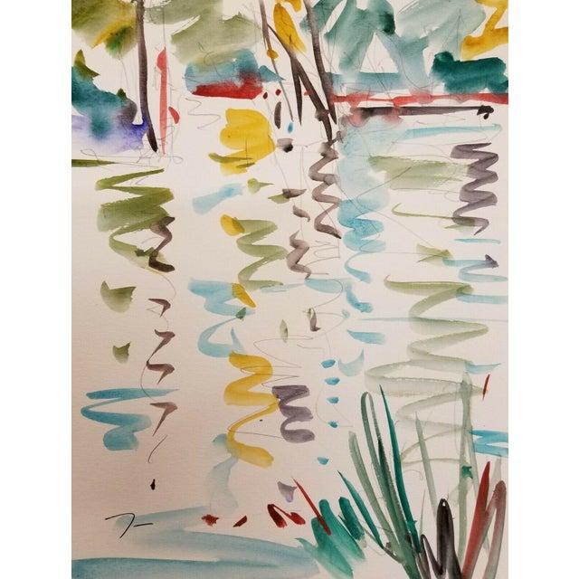 Jose Trujillo Original Watercolor Painting Fauvism Reflections Design For Sale
