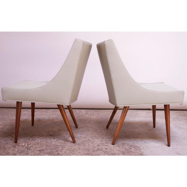 1960s Vintage Walnut and Leather Slipper Chairs by Milo Baughman - a Pair For Sale - Image 5 of 13