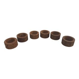Vintage Hand Carved Napkin Rings - Set of 6 For Sale