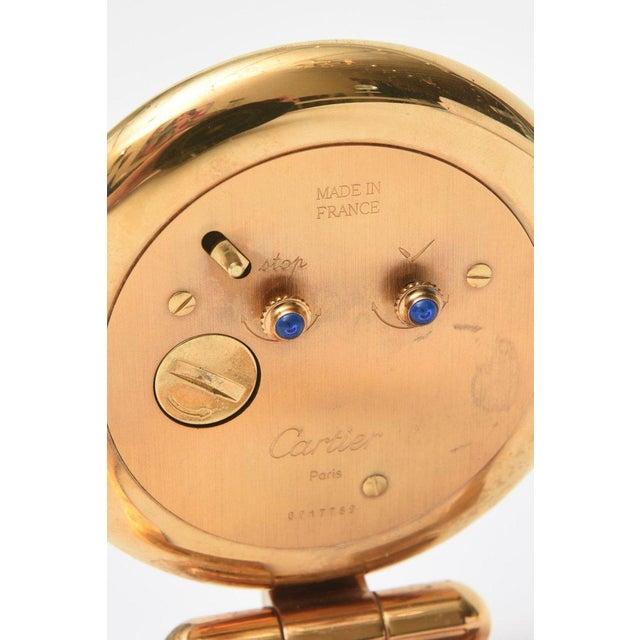 Cartier 24 Karat Gold Plated Travel Quartz Desk Clock/ Desk Accessory For Sale - Image 9 of 11