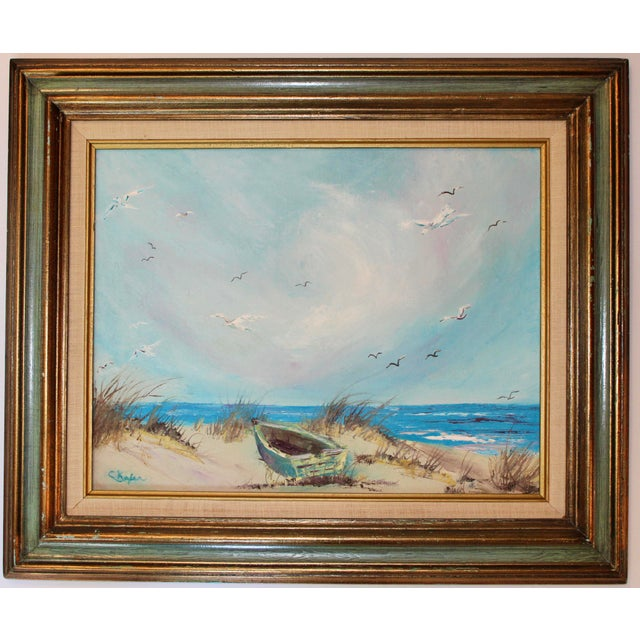 Vintage Beach Seascape Original Oil Painting For Sale - Image 11 of 13