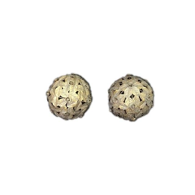 Italian Italian Tile Silver Tole Leaf Balls - a Pair For Sale - Image 3 of 4