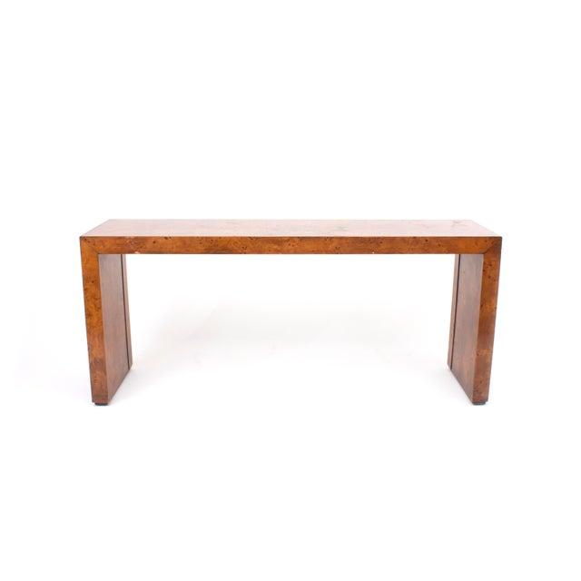 Milo Baughman Mid-Century Modern Milo Baughman Burl Wood Console Table For Sale - Image 4 of 10