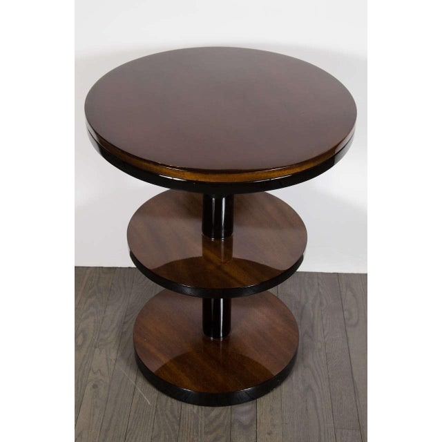 1930s Machine Age Pair of Art Deco Three-Tier Column-Form Occasional Tables For Sale - Image 5 of 8