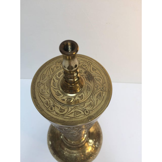 Brass Elegant Tall Syrian Polished Brass Decorative Lamp Base For Sale - Image 7 of 13