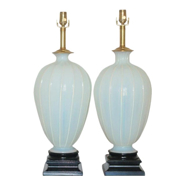 Marbro Murano Opaline Glass Table Lamps White For Sale - Image 10 of 10