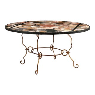 Vintage Pietra Dura Inlaid Italian Marble Top Dining Table For Sale
