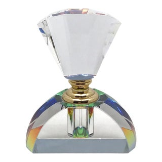 1990s Murano Transparent Perfume Bottle withStopper For Sale
