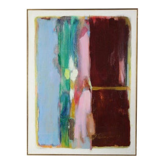 Large Mid-20th Century Oil on Canvas Abstract Painting For Sale