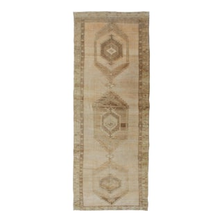 Large Gallery Runner Turkish Rug in Earth Tones & Light Brown in Medallions For Sale