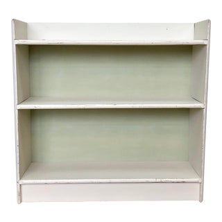 1970s Country Distressed White Bookcase For Sale