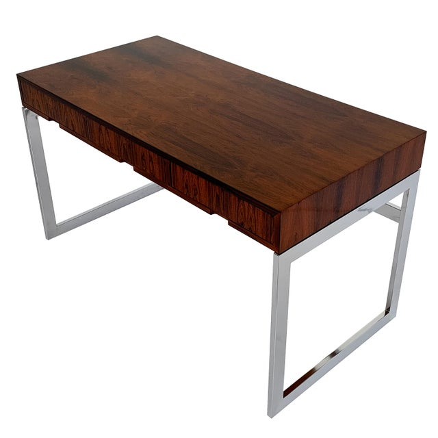 Metal Milo Baughman Rosewood and Chrome Desk For Sale - Image 7 of 13