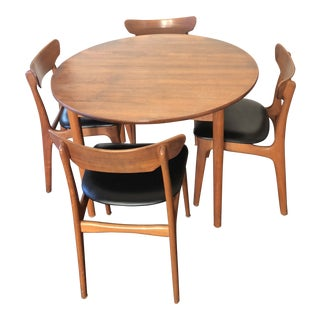 Mid-Century Teak & Leather Dining Set For Sale