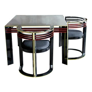 Mid-Century Modern Mackintosh Style Memphis Dining Game Table and Pair of Chairs