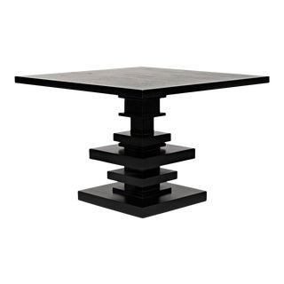 Corum Square Table, Hand Rubbed Black For Sale