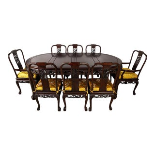 Chinese Rosewood Dragon Dining Table Set For Sale