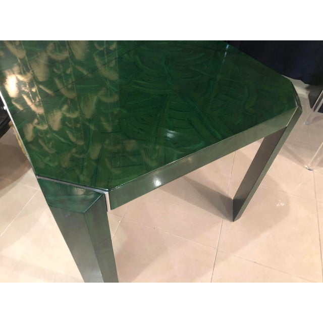 Amazing, one of a kind vintage faux Malachite painted game table with chrome accents on legs. This piece was as found....